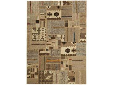 Tapis Kilim Patchwork 232x162 Beige/Marron Foncé (Laine, Perse/Iran, Noué à la main)