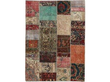 Tapis Patchwork 201x141 Moderne/Design Beige/Marron Foncé (Noué à la main, Laine, Perse/Iran)