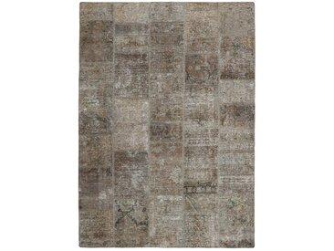 Tapis Patchwork 228x164 Gris Foncé/Beige (Laine, Perse/Iran, Noué à la main)