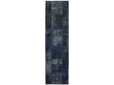 Tapis Patchwork 253x69 Coureur Gris Foncé/Bleu Foncé (Laine, Perse/Iran, Noué à la main)
