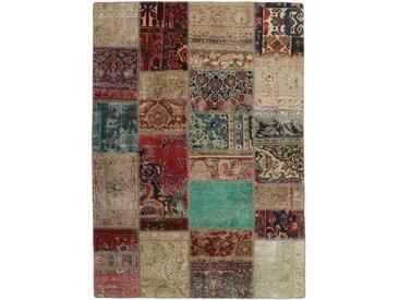 Tapis Fait Main Patchwork 199x143 Beige/Marron Foncé (Laine, Perse/Iran)