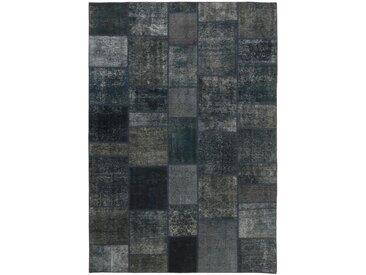 Tapis Patchwork 296x205 Moderne/Design Gris Foncé/Bleu Foncé (Noué à la main, Laine, Perse/Iran)