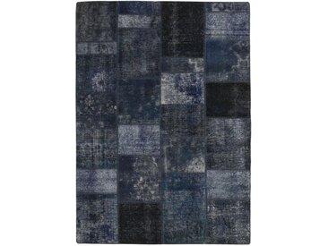 Tapis Patchwork 235x170 Moderne/Design Gris Foncé/Bleu Foncé (Noué à la main, Laine, Perse/Iran)