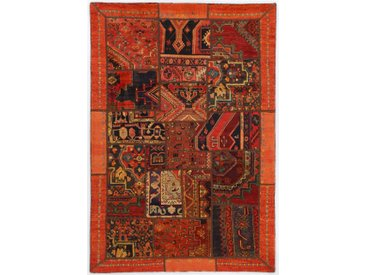 Tapis Patchwork 206x144 Moderne/Design Marron/Orange (Noué à la main, Laine, Perse/Iran)