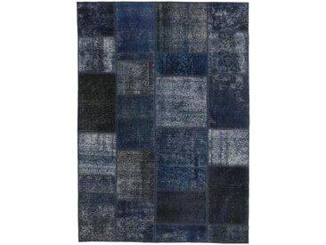 Tapis Fait Main Patchwork 199x139 Gris Foncé/Bleu Foncé (Laine, Perse/Iran)