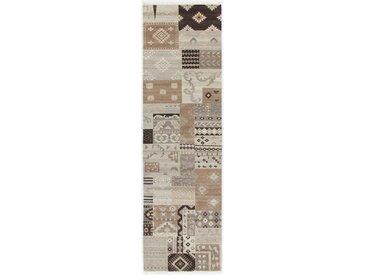 Tapis Patchwork 297x83 Coureur Gris Foncé/Beige (Laine, Inde, Noué à la main)