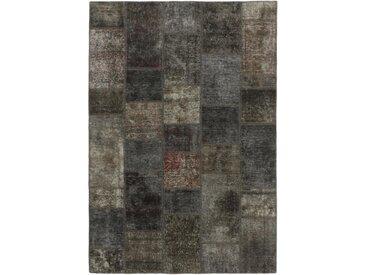 Tapis Patchwork 203x143 Moderne/Design Gris Foncé/Marron Foncé (Noué à la main, Laine, Perse/Iran)