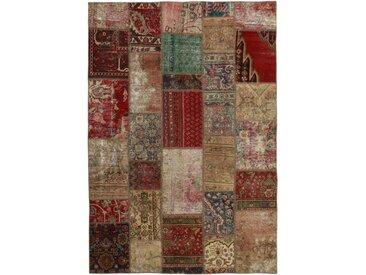 Tapis Fait Main Patchwork 241x169 Beige/Marron Foncé (Laine, Perse/Iran)
