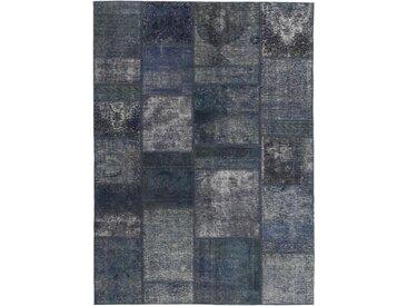 Tapis Patchwork 198x140 Moderne/Design Gris Foncé (Noué à la main, Laine, Perse/Iran)