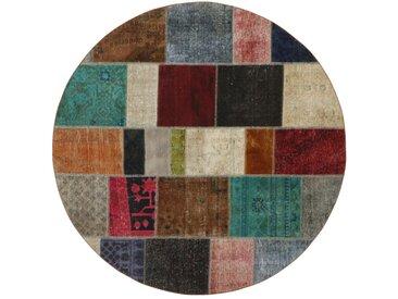Tapis Patchwork 201x201 Moderne/Design Ronde Gris Foncé/Beige (Noué à la main, Laine, Perse/Iran)