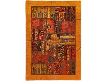Tapis Patchwork 206x145 Marron/Orange (Laine, Perse/Iran, Noué à la main)