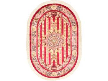 Tapis Persan Ghom Soie 117x76 Ghom Soie Beige/Rouge (Noué à la main, Perse/Iran, Soie)
