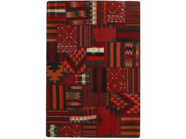 Tapis Kilim Patchwork 234x156 Gris Foncé/Rouge Foncé (Laine, Perse/Iran, Noué à la main)