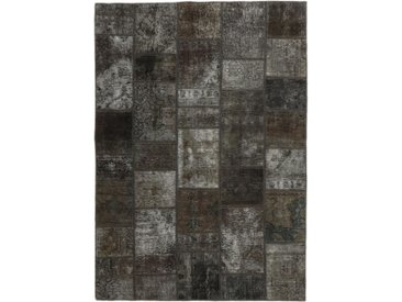 Tapis Persan Patchwork 204x144 Patchwork Gris Foncé/Marron Foncé (Noué à la main, Perse/Iran, Laine)