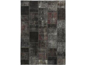 Tapis Patchwork 198x140 Moderne/Design Gris Foncé/Marron Foncé (Noué à la main, Laine, Perse/Iran)