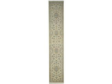 Tapis Naïn 9La 509x90 Coureur Gris Foncé/Beige (Laine/Soie, Perse/Iran, Noué à la main)