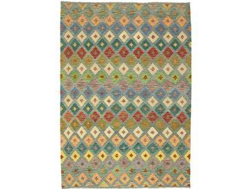 Tapis Kilim Afghan Heritage 294x210 Moderne/Design Gris Foncé/Orange (Tissé à la main, Laine, Afghanistan)