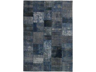 Tapis Patchwork 301x199 Gris Foncé/Bleu Foncé (Laine, Perse/Iran, Noué à la main)