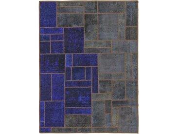 Tapis Patchwork 197x150 Gris Foncé/Bleu Foncé (Laine, Perse/Iran, Noué à la main)