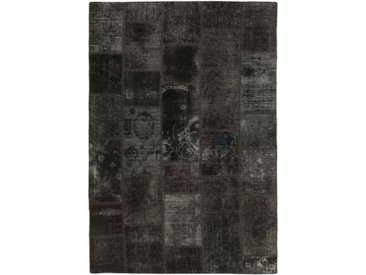 Tapis Fait Main Patchwork 205x142 Gris Foncé/Marron Foncé (Laine, Perse/Iran)
