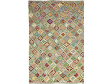 Tapis Kilim Afghan Heritage 301x203 Moderne/Design Gris Foncé/Olive Verte (Tissé à la main, Laine, Afghanistan)