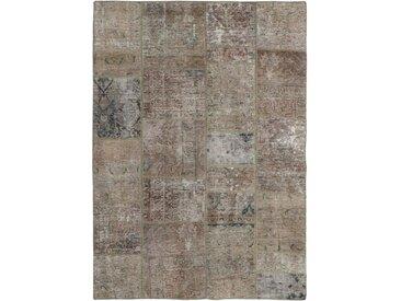 Tapis Patchwork 201x139 Gris Foncé/Beige (Laine, Perse/Iran, Noué à la main)