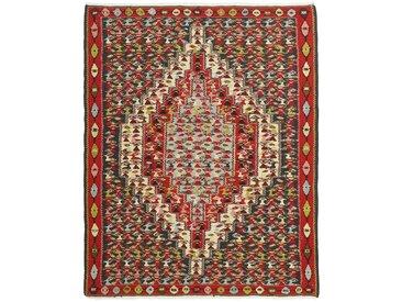 Tapis Kilim Senneh 149x116 Gris Foncé/Beige (Laine, Perse/Iran, Noué à la main)