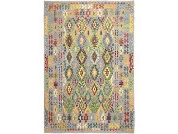 Tapis D'orient Kilim Afghan Heritage 302x208 Gris Foncé/Vert Foncé (Tissé à la main, Afghanistan, Laine)