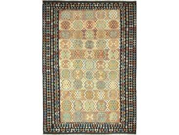 Tapis Kilim Afghan Heritage 351x248 Moderne/Design Coureur Gris Foncé/Beige (Tissé à la main, Laine, Afghanistan)