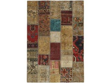 Tapis Persan Patchwork 199x138 Patchwork Gris Foncé/Beige (Noué à la main, Perse/Iran, Laine)