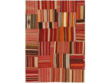 Tapis Patchwork 256x185 Moderne/Design Gris Foncé/Rouge Foncé (Noué à la main, Laine, Turquie)