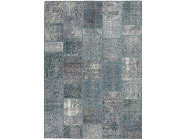 Tapis Patchwork 232x164 Gris Foncé/Bleu Clair (Laine, Perse/Iran, Noué à la main)