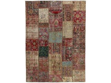 Tapis D'orient Patchwork 239x173 Beige/Rouille (Perse/Iran, Laine, Noué à la main)