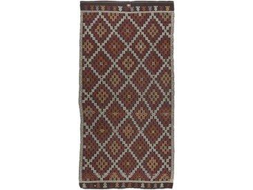 Tapis Kilim Fars Old Style 357x172 Coureur Gris Foncé/Marron Foncé (Laine, Perse/Iran, Noué à la main)