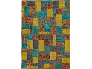 Tapis Patchwork 241x169 Moderne/Design Gris Foncé/Marron (Noué à la main, Laine, Perse/Iran)
