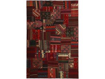 Tapis Kilim Patchwork 302x200 Gris Foncé/Marron Foncé (Laine, Perse/Iran, Noué à la main)
