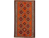Tapis D'orient Kilim Fars Azerbaijan Antique 291x156 Gris Foncé/Orange (Perse/Iran, Laine, Tissé à la main)