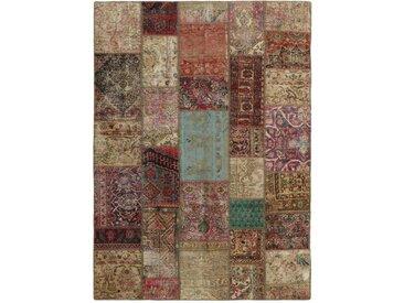 Tapis D'orient Patchwork 240x173 Gris Foncé/Beige (Perse/Iran, Laine, Noué à la main)