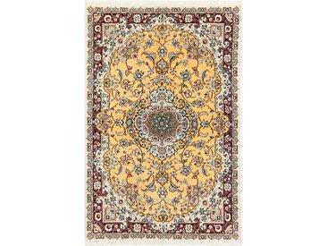 Tapis D'orient Naïn 9La 145x106 Beige/Violet (Perse/Iran, Laine/Soie, Noué à la main)