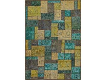 Tapis Patchwork 238x170 Moderne/Design Bleu Clair/Vert Foncé (Noué à la main, Laine, Perse/Iran)