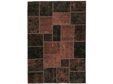 Tapis Persan Patchwork 243x169 Patchwork Gris Foncé/Rouille (Noué à la main, Perse/Iran, Laine)