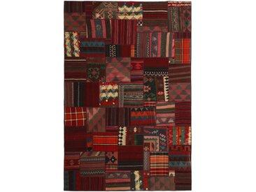 Tapis Kilim Patchwork 300x200 Gris Foncé/Rouille (Laine, Perse/Iran, Noué à la main)