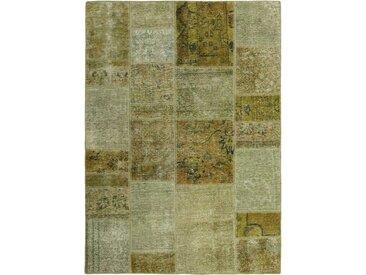 Tapis Persan Patchwork 199x144 Patchwork Marron Foncé/Vert Foncé (Noué à la main, Perse/Iran, Laine)