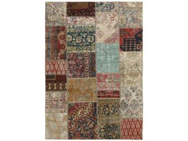 Tapis Patchwork 201x144 Moderne/Design Gris Foncé/Beige (Noué à la main, Laine, Perse/Iran)
