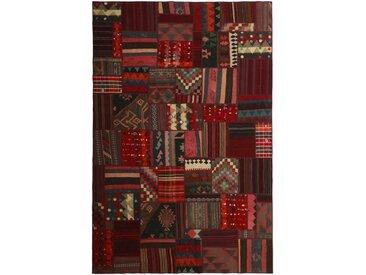 Tapis Kilim Patchwork 302x200 Gris Foncé/Rouge Foncé (Laine, Perse/Iran, Noué à la main)