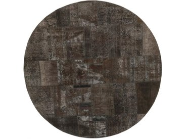 Tapis Patchwork 251x249 Moderne/Design Ronde Gris Foncé/Marron Foncé (Noué à la main, Laine, Perse/Iran)