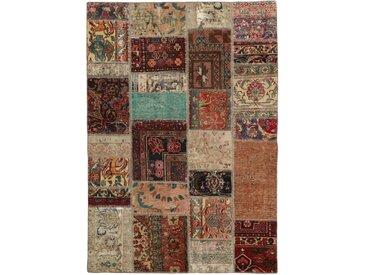Tapis Patchwork 206x141 Gris Foncé/Marron (Laine, Perse/Iran, Noué à la main)
