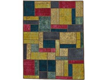 Tapis Patchwork 195x151 Rouille/Bleu Foncé (Laine, Perse/Iran, Noué à la main)