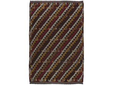 Tapis Kilim Fars Old Style 323x207 Gris Foncé/Marron (Laine, Perse/Iran, Noué à la main)