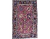 Tapis Tabriz Antique 201x131 Gris Foncé/Rouge (Laine, Perse/Iran, Noué à la main)